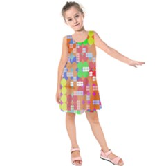Abstract Polka Dot Pattern Digitally Created Abstract Background Pattern With An Urban Feel Kids  Sleeveless Dress