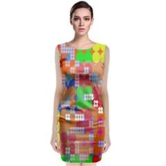 Abstract Polka Dot Pattern Digitally Created Abstract Background Pattern With An Urban Feel Sleeveless Velvet Midi Dress