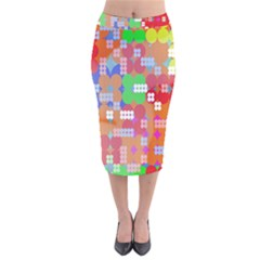 Abstract Polka Dot Pattern Digitally Created Abstract Background Pattern With An Urban Feel Velvet Midi Pencil Skirt
