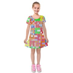 Abstract Polka Dot Pattern Digitally Created Abstract Background Pattern With An Urban Feel Kids  Short Sleeve Velvet Dress