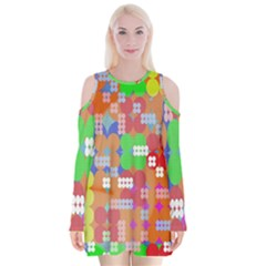 Abstract Polka Dot Pattern Digitally Created Abstract Background Pattern With An Urban Feel Velvet Long Sleeve Shoulder Cutout Dress