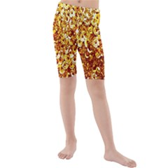 Yellow Abstract Background Kids  Mid Length Swim Shorts