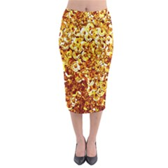 Yellow Abstract Background Midi Pencil Skirt