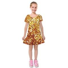 Yellow Abstract Background Kids  Short Sleeve Velvet Dress