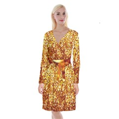 Yellow Abstract Background Long Sleeve Velvet Front Wrap Dress