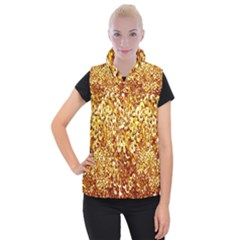 Yellow Abstract Background Women s Button Up Puffer Vest