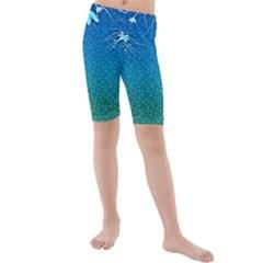 Floral 2d Illustration Background Kids  Mid Length Swim Shorts