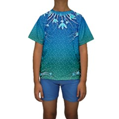 Floral 2d Illustration Background Kids  Short Sleeve Swimwear