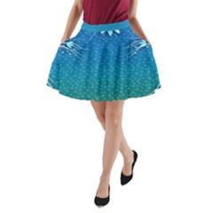 Floral 2d Illustration Background A Line Pocket Skirt