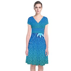 Floral 2d Illustration Background Short Sleeve Front Wrap Dress