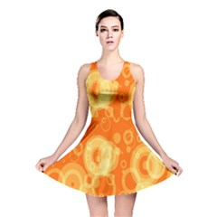 Retro Orange Circle Background Abstract Reversible Skater Dress