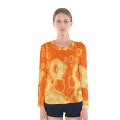 Retro Orange Circle Background Abstract Women s Long Sleeve Tee