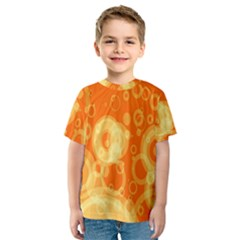 Retro Orange Circle Background Abstract Kids  Sport Mesh Tee