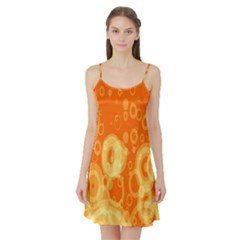 Retro Orange Circle Background Abstract Satin Night Slip