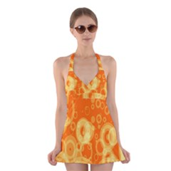 Retro Orange Circle Background Abstract Halter Swimsuit Dress