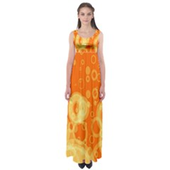 Retro Orange Circle Background Abstract Empire Waist Maxi Dress