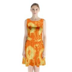 Retro Orange Circle Background Abstract Sleeveless Chiffon Waist Tie Dress
