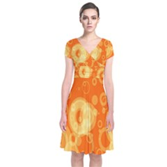 Retro Orange Circle Background Abstract Short Sleeve Front Wrap Dress