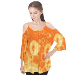 Retro Orange Circle Background Abstract Flutter Tees