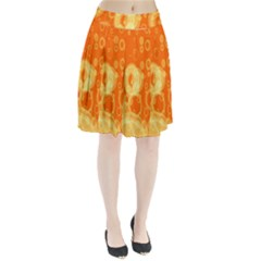 Retro Orange Circle Background Abstract Pleated Skirt