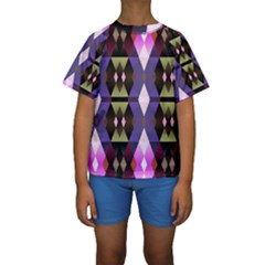 Geometric Abstract Background Art Kids  Short Sleeve Swimwear