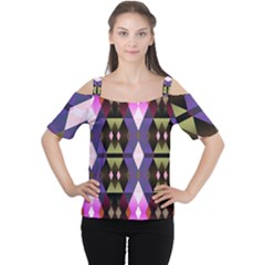 Geometric Abstract Background Art Women s Cutout Shoulder Tee