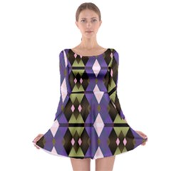 Geometric Abstract Background Art Long Sleeve Skater Dress