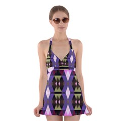 Geometric Abstract Background Art Halter Swimsuit Dress