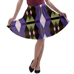 Geometric Abstract Background Art A Line Skater Skirt