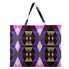 Geometric Abstract Background Art Zipper Large Tote Bag
