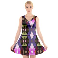 Geometric Abstract Background Art V Neck Sleeveless Skater Dress