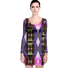 Geometric Abstract Background Art Long Sleeve Velvet Bodycon Dress