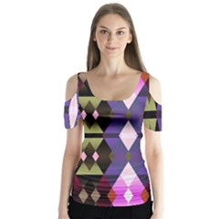 Geometric Abstract Background Art Butterfly Sleeve Cutout Tee
