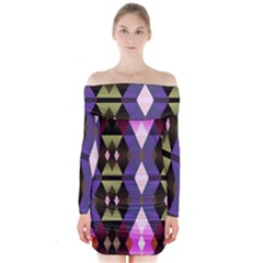 Geometric Abstract Background Art Long Sleeve Off Shoulder Dress