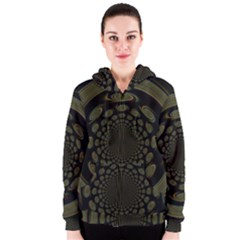 Dark Portal Fractal Esque Background Women s Zipper Hoodie