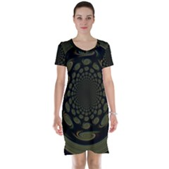 Dark Portal Fractal Esque Background Short Sleeve Nightdress