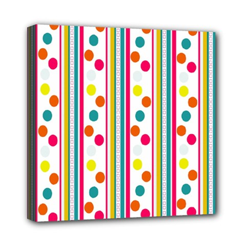 Stripes And Polka Dots Colorful Pattern Wallpaper Background Mini Canvas 8  x 8