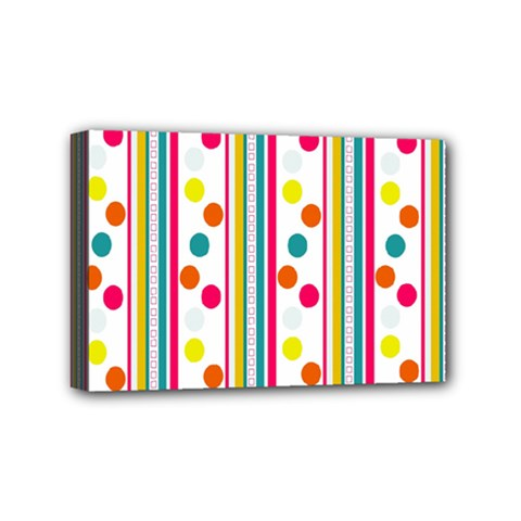 Stripes And Polka Dots Colorful Pattern Wallpaper Background Mini Canvas 6  x 4