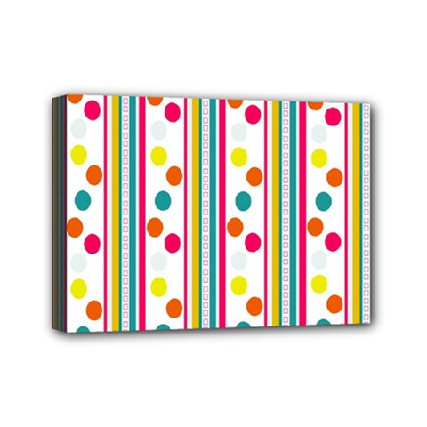 Stripes And Polka Dots Colorful Pattern Wallpaper Background Mini Canvas 7  x 5