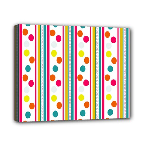 Stripes And Polka Dots Colorful Pattern Wallpaper Background Canvas 10  x 8