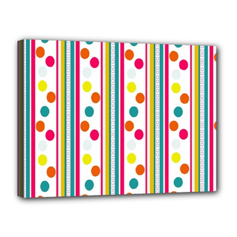 Stripes And Polka Dots Colorful Pattern Wallpaper Background Canvas 16  X 12
