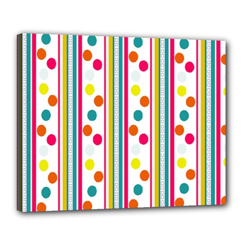 Stripes And Polka Dots Colorful Pattern Wallpaper Background Canvas 20  x 16