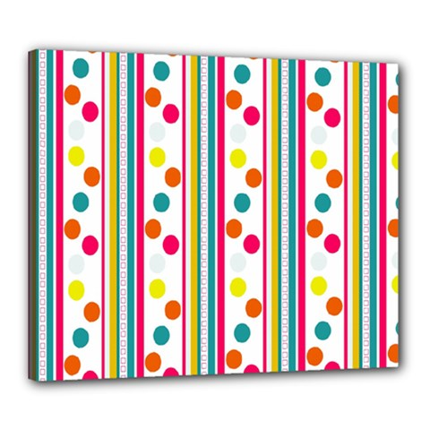 Stripes And Polka Dots Colorful Pattern Wallpaper Background Canvas 24  x 20