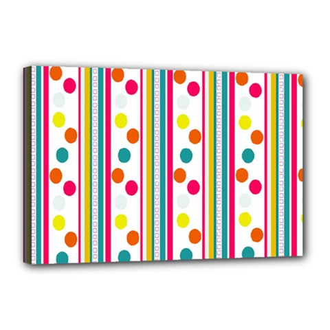 Stripes And Polka Dots Colorful Pattern Wallpaper Background Canvas 18  x 12