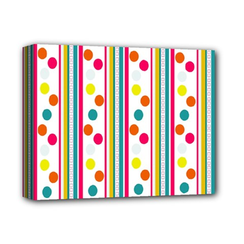 Stripes And Polka Dots Colorful Pattern Wallpaper Background Deluxe Canvas 14  x 11