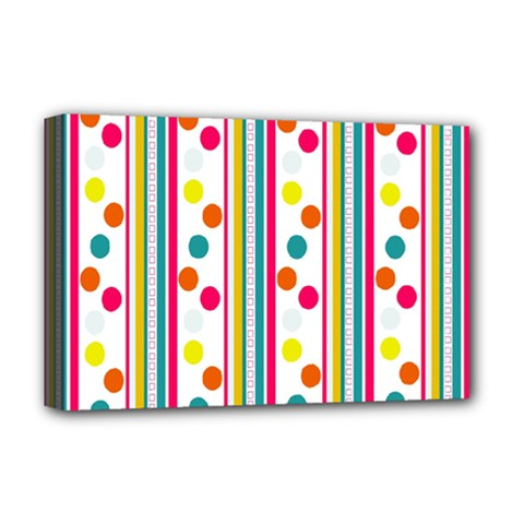 Stripes And Polka Dots Colorful Pattern Wallpaper Background Deluxe Canvas 18  x 12