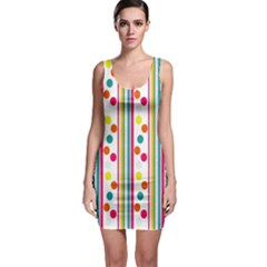 Stripes And Polka Dots Colorful Pattern Wallpaper Background Sleeveless Bodycon Dress