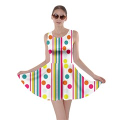 Stripes And Polka Dots Colorful Pattern Wallpaper Background Skater Dress