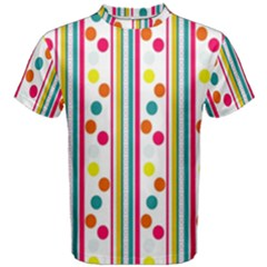Stripes And Polka Dots Colorful Pattern Wallpaper Background Men s Cotton Tee