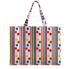Stripes And Polka Dots Colorful Pattern Wallpaper Background Mini Tote Bag
